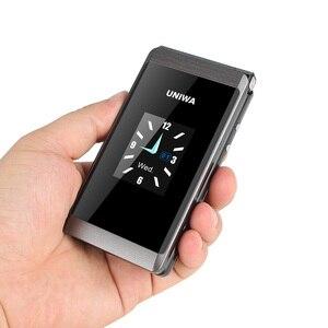 Image 4 - UNIWA X28 double écran rabat Senior bouton poussoir téléphone portable écriture à clapet téléphone portable russe clavier téléphone