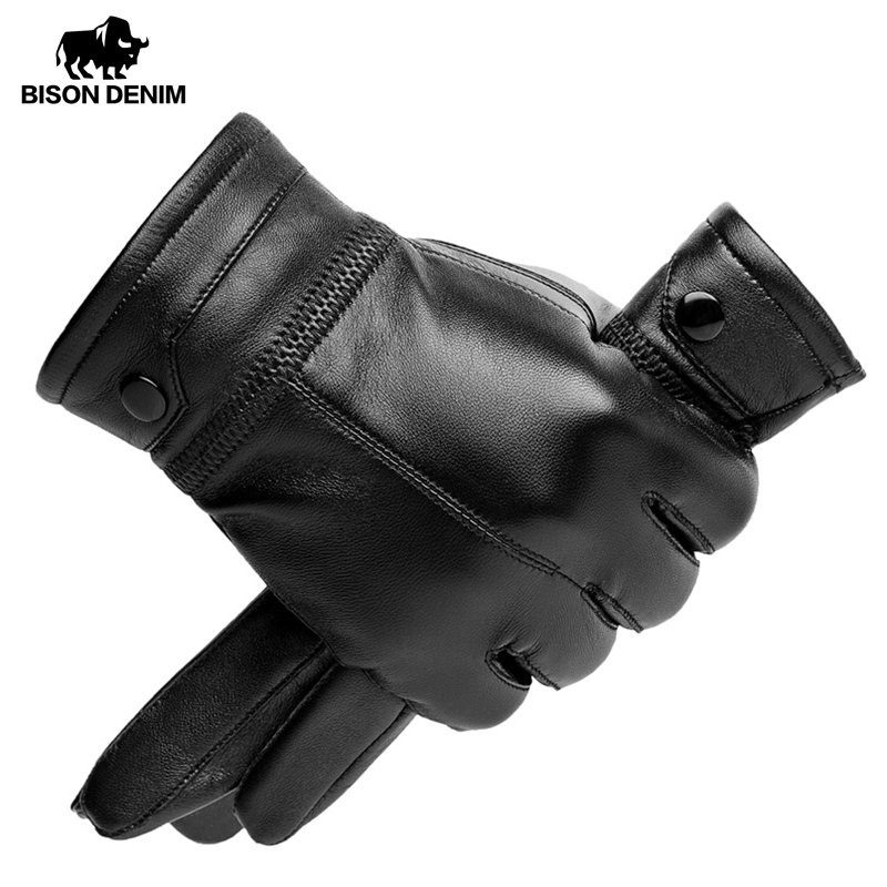 BISON DENIM Men's Sheepskin Leather Gloves Black Riveted Warm Mittens Touch Screen Winter Quality Male Warm Fluff Gloves S002