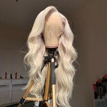 Perruque Lace Front Wig Body Wave brésilienne naturelle, blond cendré, 13*4, pour femmes