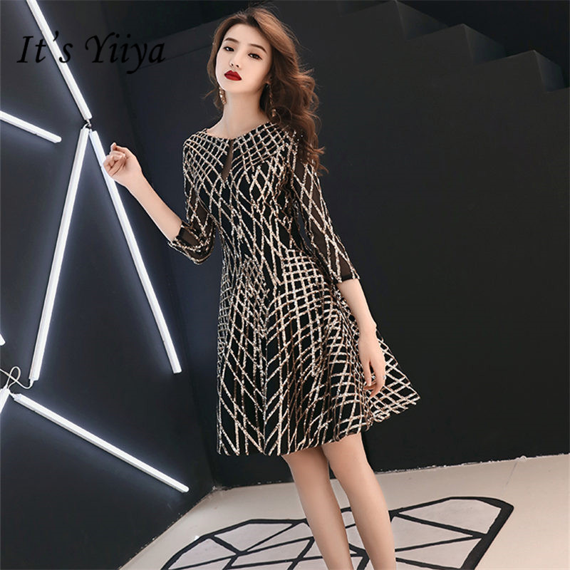 It's YiiYa   Cocktail     Dress   Elegant O-Neck Gold Sequin Women Party Gowns Three-Quarter Sleeve Knee-Length   Cocktail     Dresses   E806