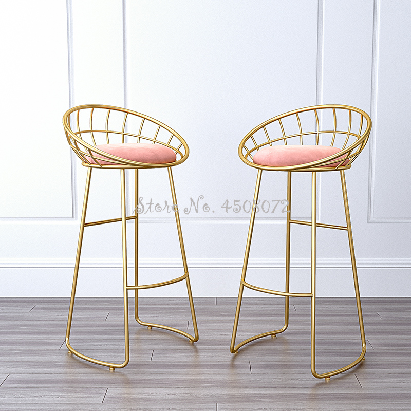 65cm Golden Creative Bar Chair  Home High Stool Cafe Bar Chair Backrest Wrought Iron Nordic Modern Bar Stool Pink Fannal Pad