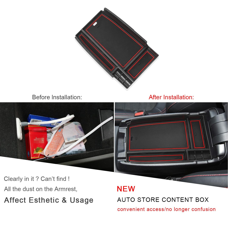 caixa de armazenamento braço acessórios interiores automóveis vermelho