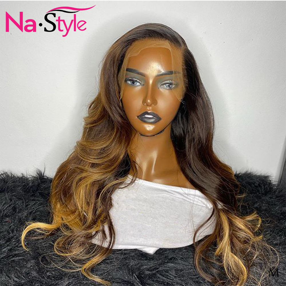 Ombre 13x6  Brown Lace Front Remy Human Hair Wigs Pre Plucked 1b/27 Body Wave Lace Front Human Hair  wigs 150 Brazilian wig