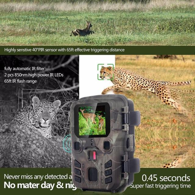 mini 301 Hunting Trail Camera 12MP 1080P PIR IR Wildlife Scouting Cam Night Vision 0.45 second trigger time Hunting Cameras