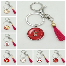 2019 New Hot Cartoon Christmas Deer Series Glass Cabochon Tassel Keychain Fashion Jewelry Gift