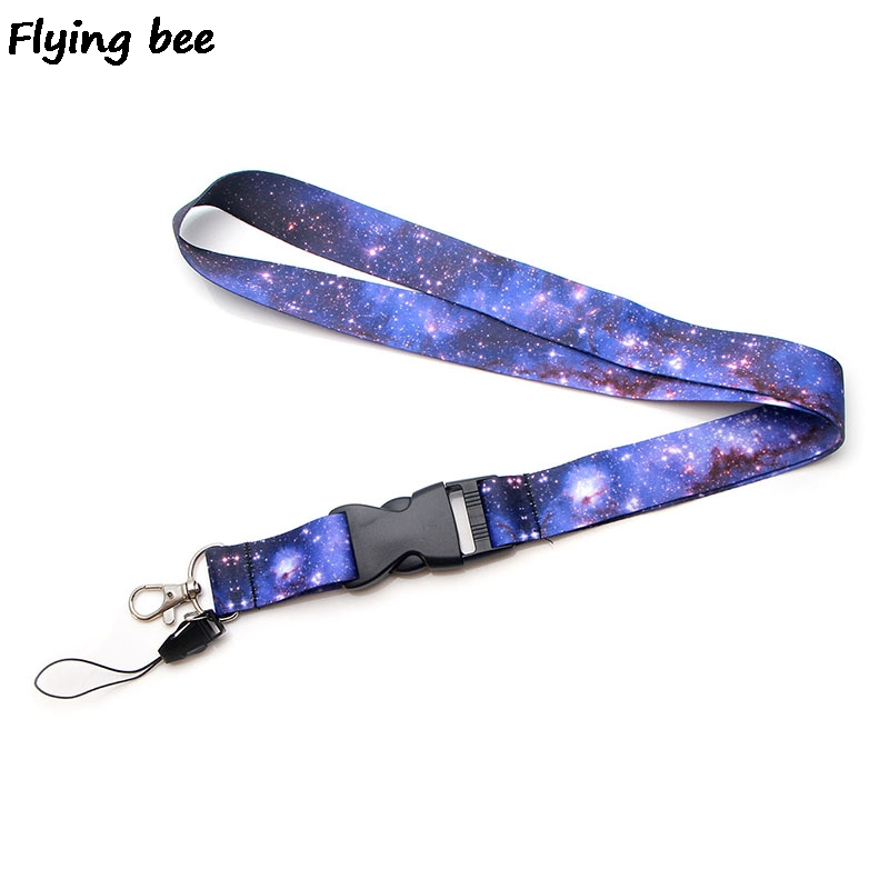 Flyingbee Starry Sky Cool Purple Lanyard Phone Rope Keychains Lanyard For Keys ID Card Cartoon Lanyards For Men Women X0384