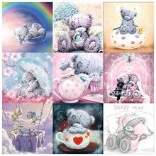 100% Full 5D Diy Daimond Painting Cartoon Bear 3D Diamond Round Rhinestones Diamant Embroidery