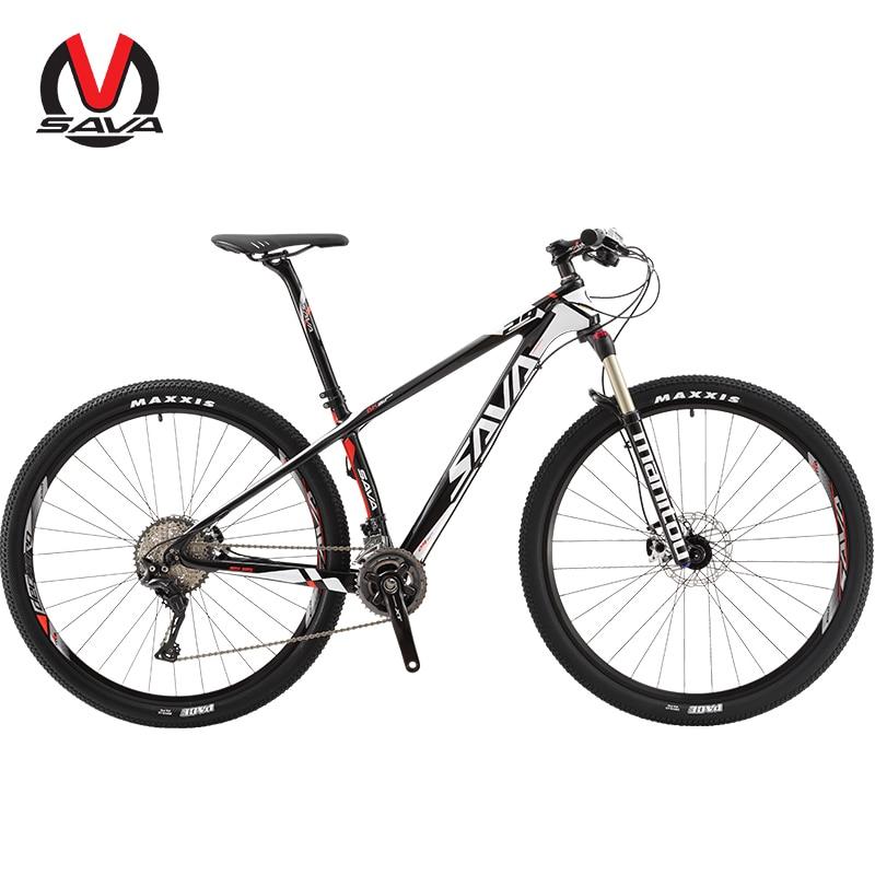 SAVA Vtt Bike 29 zoll Carbon Faser Mountainbike 29 mtb Männer Carbon Mountainbike mit SHIMANO DEORE XT und MANITOU luft Gabel-in Fahrrad aus Sport und Unterhaltung bei title=