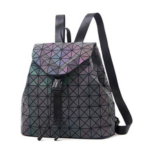 Women Laser Luminous Backpack School Hologram Geometric Fold Student School Bags For Teenage Girls holographic sac a dos new laser luminous small women leather backpack school bags for teenage girls mochila women foldable geometric backpack