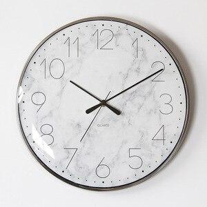 Nórdico curvo relógio de parede de vidro design moderno para sala estar estilo mármore metal quadro relógios parede decoração da sua casa 13 polegada