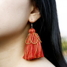 Fashion Vintage Bohemian Tassel Rice Beads Long Earrings Drop Dangle Women Wedding Fringed Jewelry