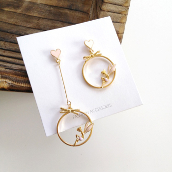 South Korea Asymmetric Heart-Shaped Earrings Contracted Irregular Long Dangling Earrings Wedding Fashion Jewelry Pendants image