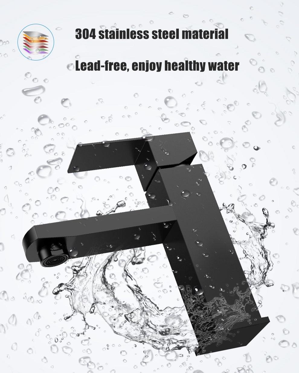 H3d7ba2d624f74393926b73df9e19ac5al XUNSHINI Black Square Bathroom Sink Faucet Single Handle Basin Faucet Wash Tap Bathroom Toilet Deck Mounted Basin Tap