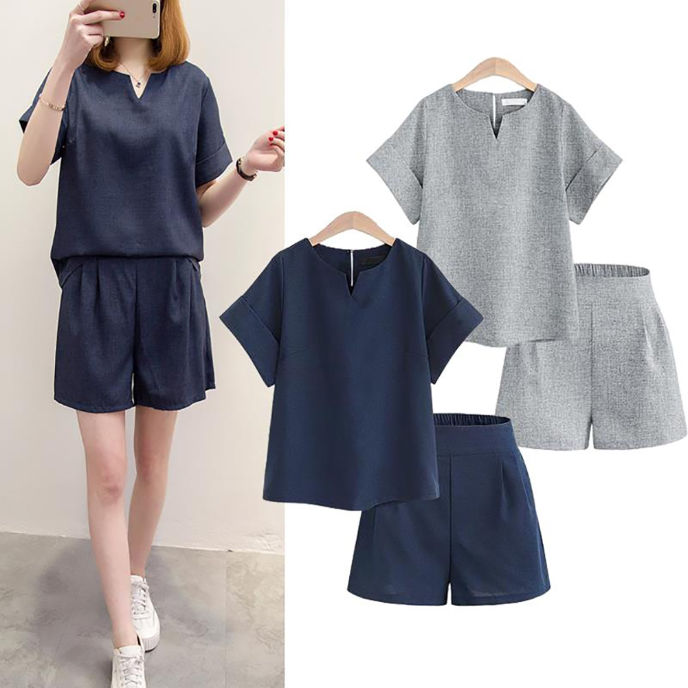 Two-piece Set Female Office Suit Casual Cotton Linen V-neck T-shirt Shirts Short Sleeve Tops and Shorts Summer Women's Costumes