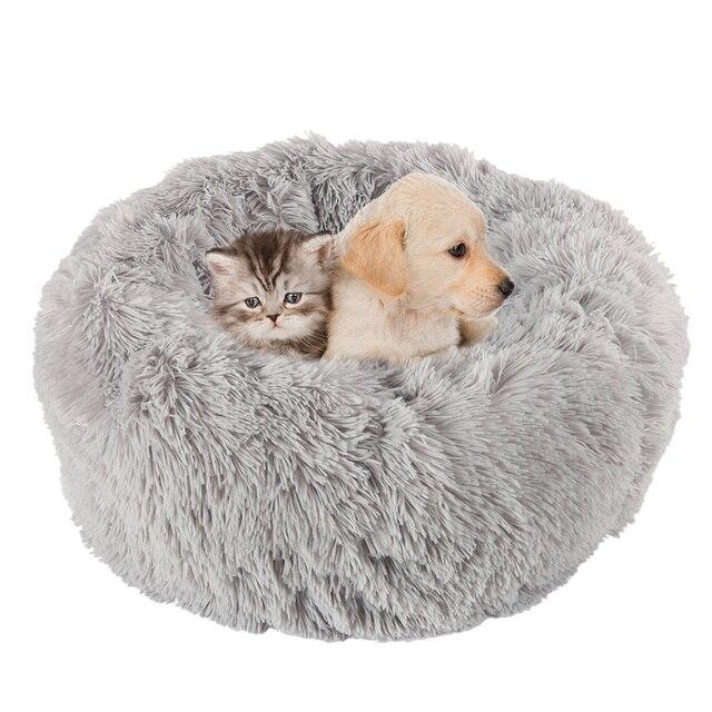 Uzun peluş yumuşak Pet köpek yatağı gri yuvarlak kedi kış sıcak uyku yatakları çantası yavru köpek yastık Mat taşınabilir evcil hayvan malzemeleri willstar