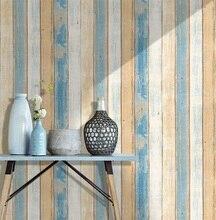 Rouleau de papier peint Vintage 3D en bois, 0.45x6m/rouleau, papier Contact Mural, décoration de la maison, cuisine, salle de bains