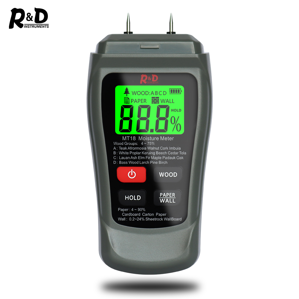 NEW MT-18 Grey 0-99.9% Two Pins Digital Wood Moisture Meter Paper Humidity Tester Wall Hygrometer Timber Damp Detector