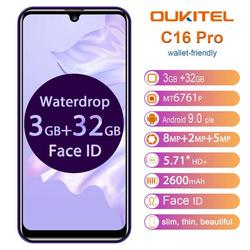 Перейти на Алиэкспресс и купить oukitel c16 pro smartphone 3gb ram 32gb rom 5.71дюйм. 19:9 waterdrop screen android 9.0 pie quad core 8.0mp face id 4g lte phone