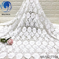 BEAUTIFICAL White Lace for Summer Dresses African Embroidery Cord Lace Guipure ML5G177