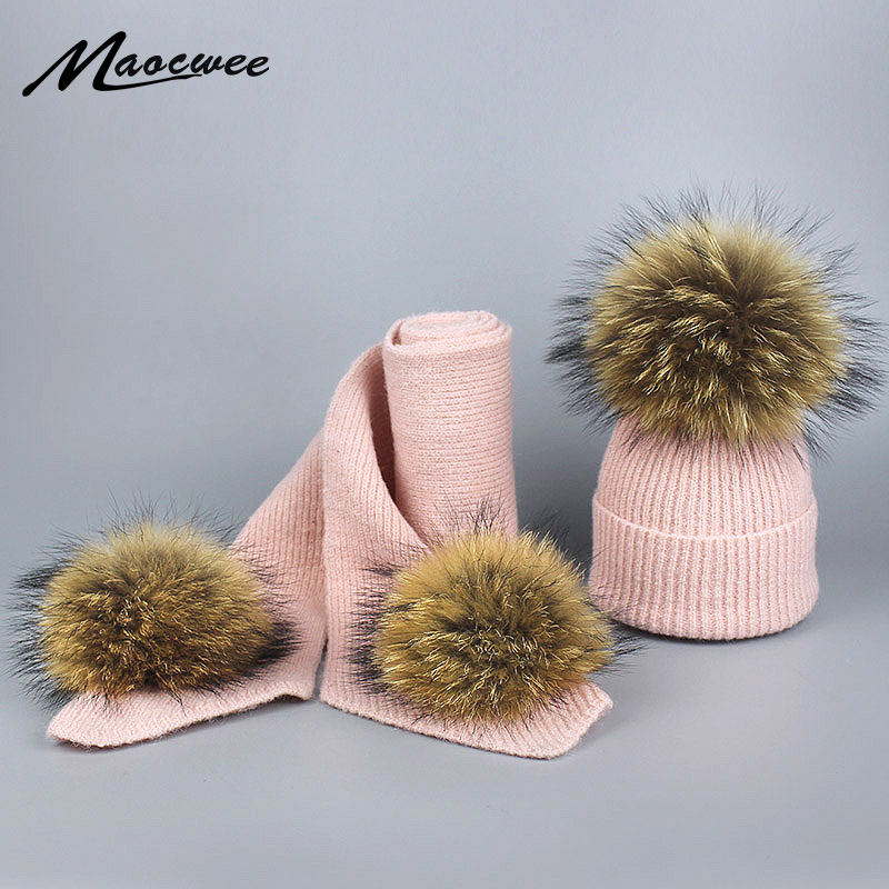Children's Winter Knitted Top Hat With Pompom Natural Raccoon Fur Ski Kid's Hat Autumn And Winter Warm Striped Hats Pure Colour