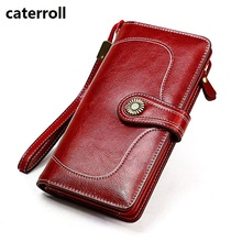 large capacity women wallets split leather female purse luxury brand clutch wallet long card holder wallets and purses все цены