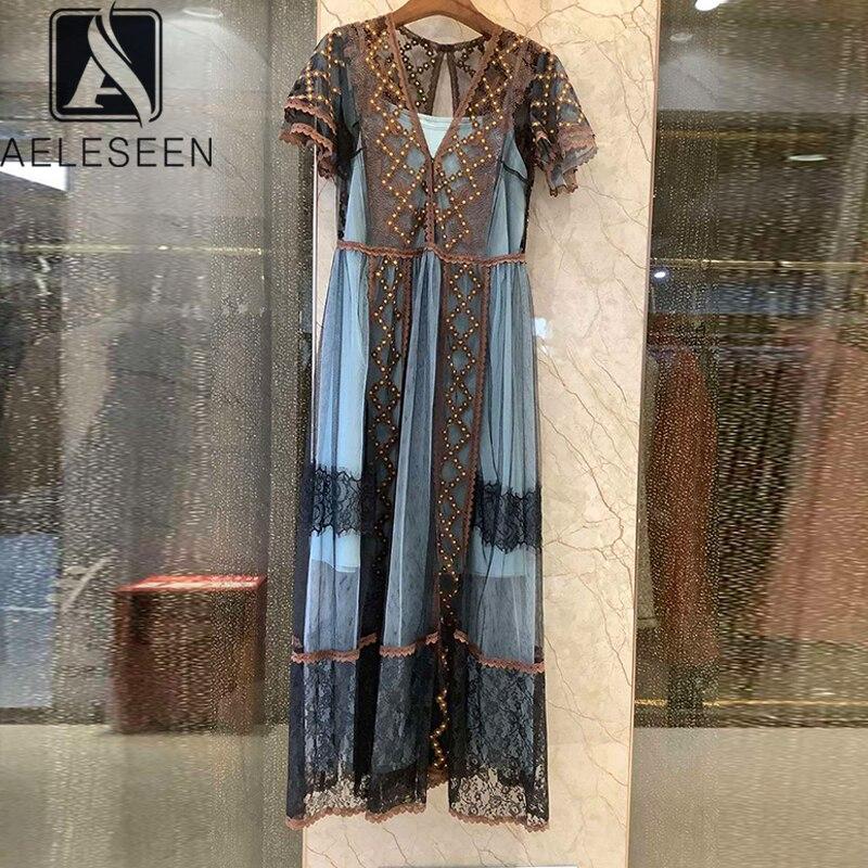 Feminino do Vintage 2020 de Alta Aeleseen Vestido Qualidade Luxo Pista Moda V-neck Flor Bordado Malha Longo Festa Férias