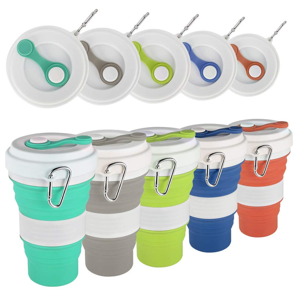550ml Travel Cup Mug Collapsible Silicone Cup With Straw Lid Reusable Floding Water Coffee Drinking Mug Camping Hiking BPA Free
