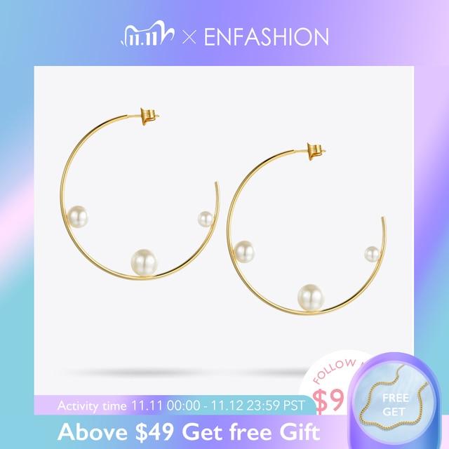 Enfashion תכשיטי גיאומטרי פרל קו חישוק עגילי זהב צבע נירוסטה מעגל עגילים לנשים עגילי EEF1014
