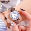 SANDA Super Dünne Rose goud Roestvrij Staal Horloges Women Top Marke Luxe Casual Klok Dames Polshorloge Relogio Feminino