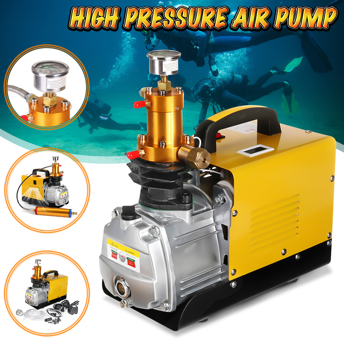 30MPa High Pressure Air Compressor Pump 110V PCP 4500PSI 80L//Min Auto Shut