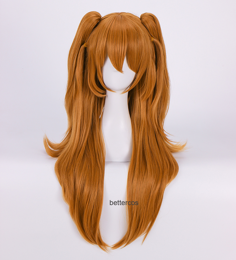 EVA Asuka Langley Soryu Cosplay Wigs Long Orange With 2 Ponytail Clips Heat Resistant Synthetic Hair Wig + Wig Cap