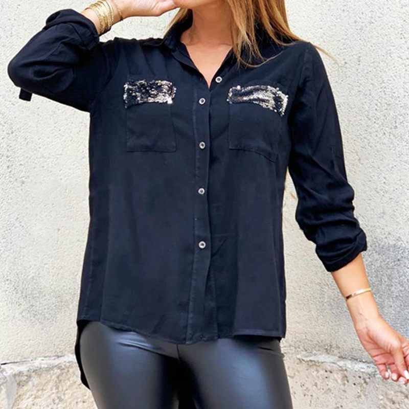 Women Long Sleeve Blouse Shirts Irregular Sequin Ladies Tops Shiny Pocket Blouses Blusas Mujer Casual Button Down Shirts Blouse