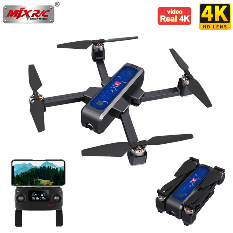 MJX B4W GPS RC Drone With Real 4K HD Camera Quadcopter Anti-shake Optical Flow Brushless 5G WIFI FPV Foldable Helicopter 1.6KM