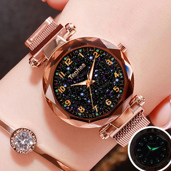 Ladies Dress Watches Magnetic Starry Sky Women Wristwatch Luxury Rose Gold Female Quartz Clock reloj mujer relogio feminino 2019