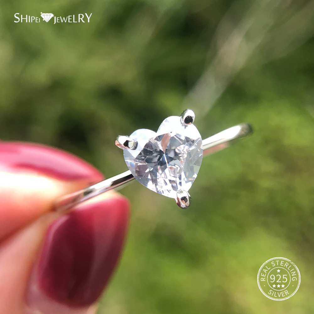Shipei Created Moissanite Heart Ring For Women Fine Jewelry 100% 925 Sterling Silver Love Heart Ring Anniversary Valentines Gift