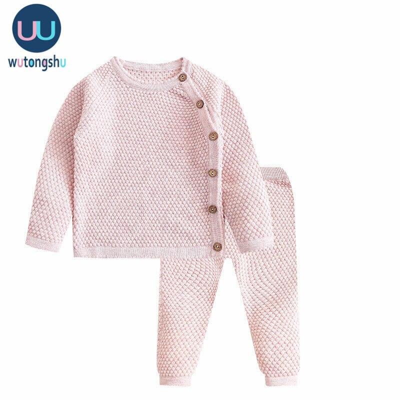 Комплект одежды для маленьких мальчиков, осенне зимняя однотонная Одежда для новорожденных девочек топы с длинными рукавами + штаны, комплект одежды повседневный Детский костюм|Комплекты одежды|   | АлиЭкспресс - 11/11 AliExpress