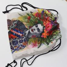 Famous Mexican painter self-portrait Drawstring bag pocket, swimming gym bag, school bag, storage travel backpack цена