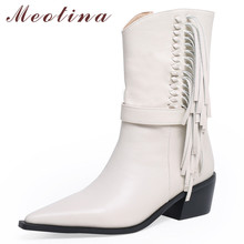 все цены на Meotina Winter Western Boots Women Natural Genuine Leather Fringe Thick High Heel Ankle Boots Zipper Pointed Toe Shoes Lady Fall онлайн