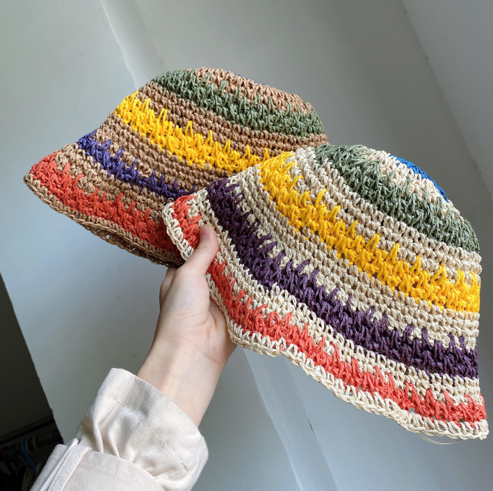 Summer Travel Shade Rainbow Color Hat Floppy Straw Hat Women Ladies Wide Brim Beach Foldable Straw Sun Hat Sun Cap