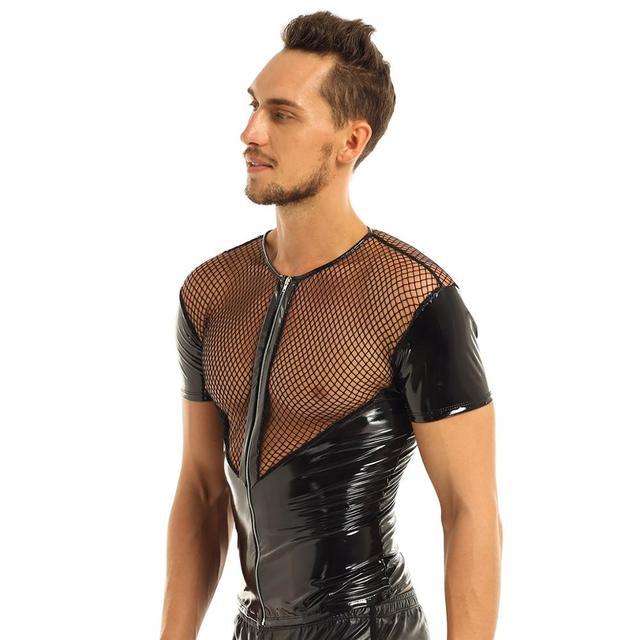 Skórzana uprząż męska bielizna seks koszulka błyszcząca lateksowa koszulka z krótkim rękawem kabaretki Top wyglądające na mokre gejowskie skórzana uprząż krótkie bluzki płaszcz