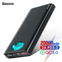 Baseus 20000mAh Power Bank USB Type C PD Fast Charging + Quick Charge 3.0 Powerbank For iPhone Portable External Battery Charger