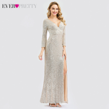 Luxury Saudi Arab Prom Dresses Ever Pretty Sequined Mermaid Long Sleeve V-Neck Side Split Formal Gala Jurken 2019