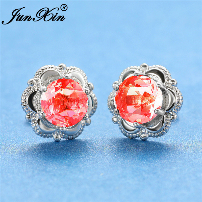 Gradient Rainbow Fire Crystal Flower Earrings White Gold Rose Gold Colorful Pink Yellow Zircon Wedding Double Earrings For Women