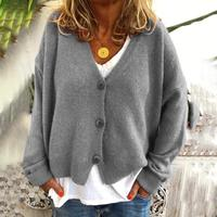 Loose Casual Long Sleeve V Neck Knitted Sweater Women 2020 Autumn Winter Clothes Plus Size Cardigan Knit Sweaters Pull Femme Top