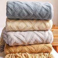 Manta de malha para cama geométrica, cobertor para sofá em jacquard com borlas, decoração de casa