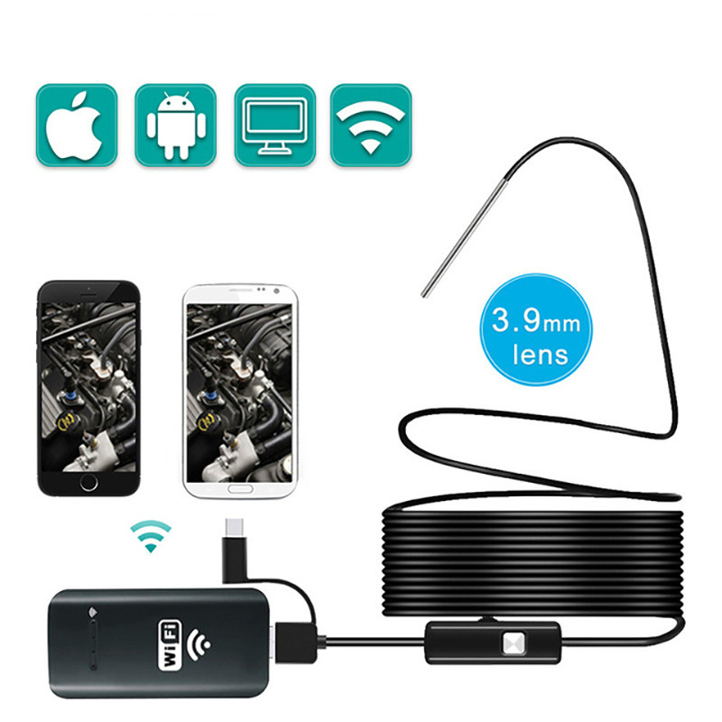Borescope Endoscope Camera 3.9MM Wifi IP67 Waterproof Mini Snake Camera With 2000amh For Android And IOS, IPhone Tablet Samsung
