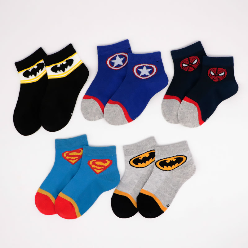Girls Socks Avengers Cartoon Summer Mesh Cotton 5-Pairs/Lot New 4 1-9-Year title=