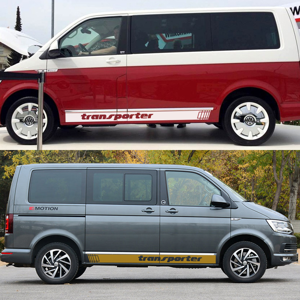 Image 3 - 2Pcs Car Side Stripes Stickers Auto Vinyl Film Decoration Decals For Volkswagen Multivan T4 T5 T6 Styling Car Tuning Accessories-in Car Stickers from Automobiles & Motorcycles