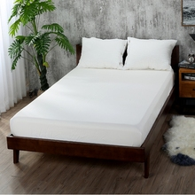 цена на Home Bed Cover Fitted Sheet Solid Color Bed Sheets With Elastic Band Double Queen King Size Mattress Cover 100% Polyester White