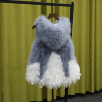 Parent child spring autumn ostrich feather vest expansion bottom medium fur small fresh turkey feather hooded waistcoat female